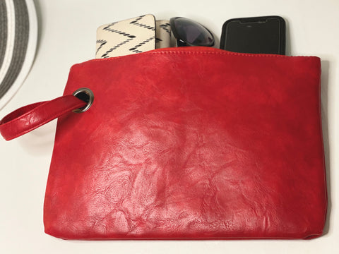 Tomato Red Leather Summer Wrist Clutch