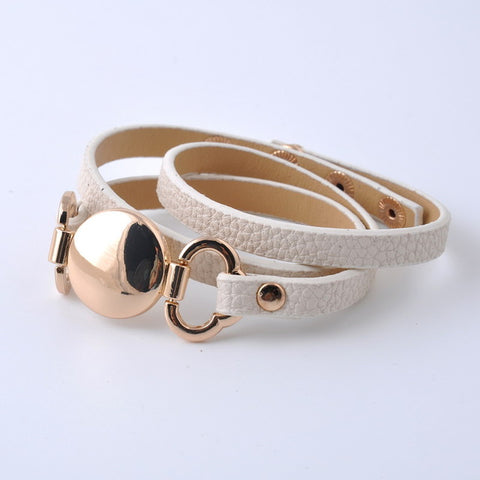 Leather Wrap Bracelet - Cream & Gold