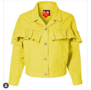 Ruffle me in yellow Jean jacket