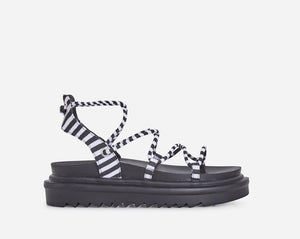 Stripes and laces sandal