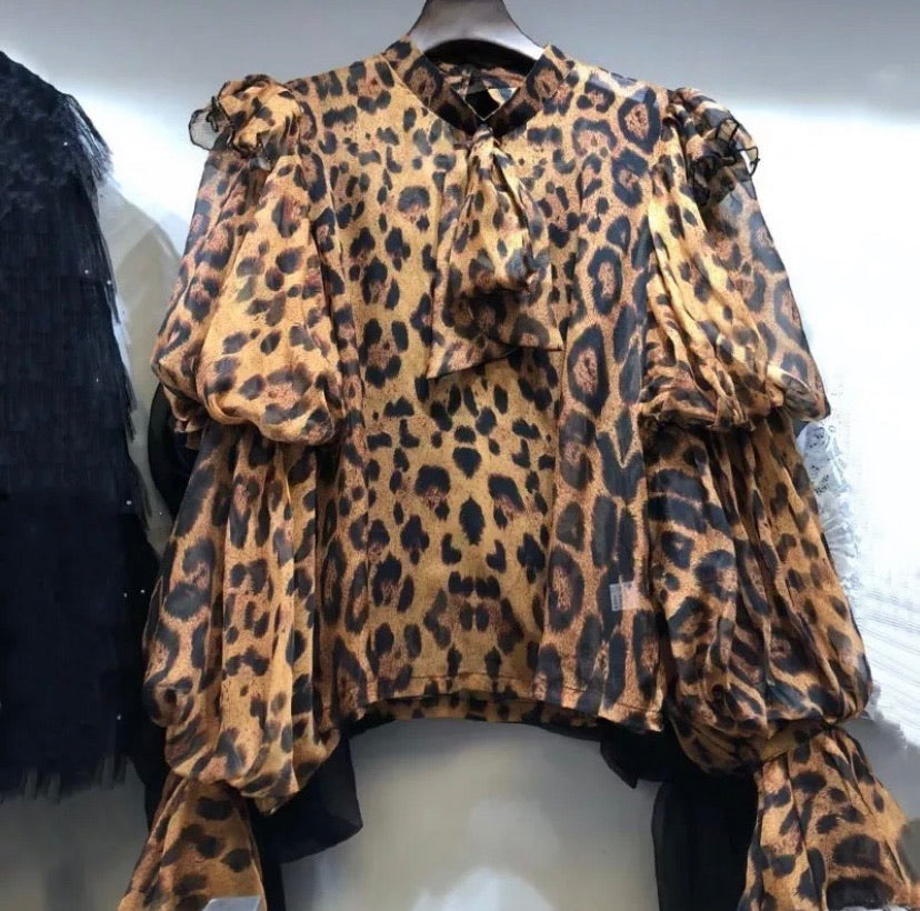 Women cheetah blouse top