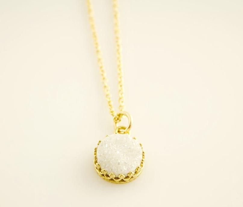 White Druzy Gold Necklace