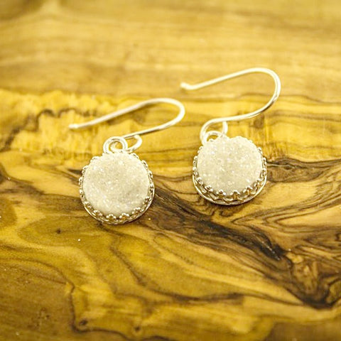 White Druzy Quartz Earrings