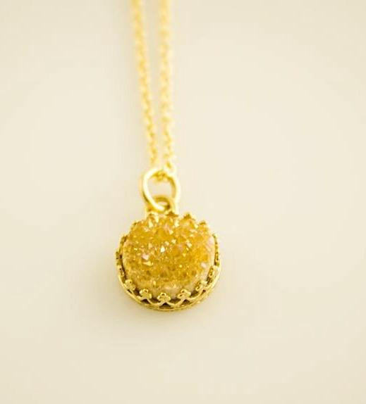 Gold Druzy Necklace