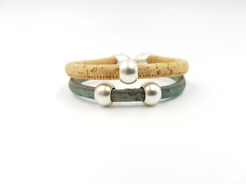 Two Strand Cork Bracelet- Pick Your Color