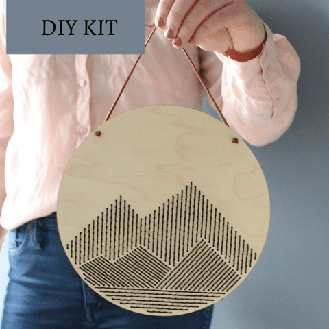 Mountains Embroidery Wood Sign DIY Kit