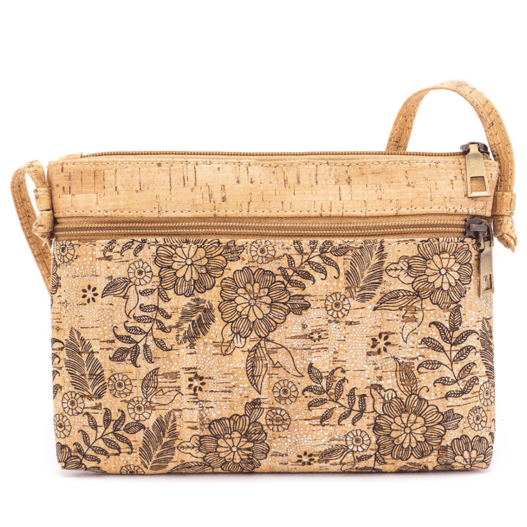 Black Floral Cork Messenger Bag