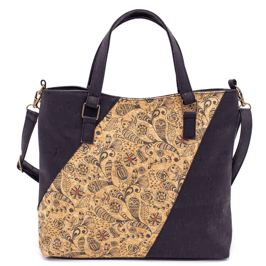 Black & Tan Cork Tote with Shoulder Strap
