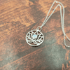 Moonstone Lotus Circle Pendant .925 Necklace