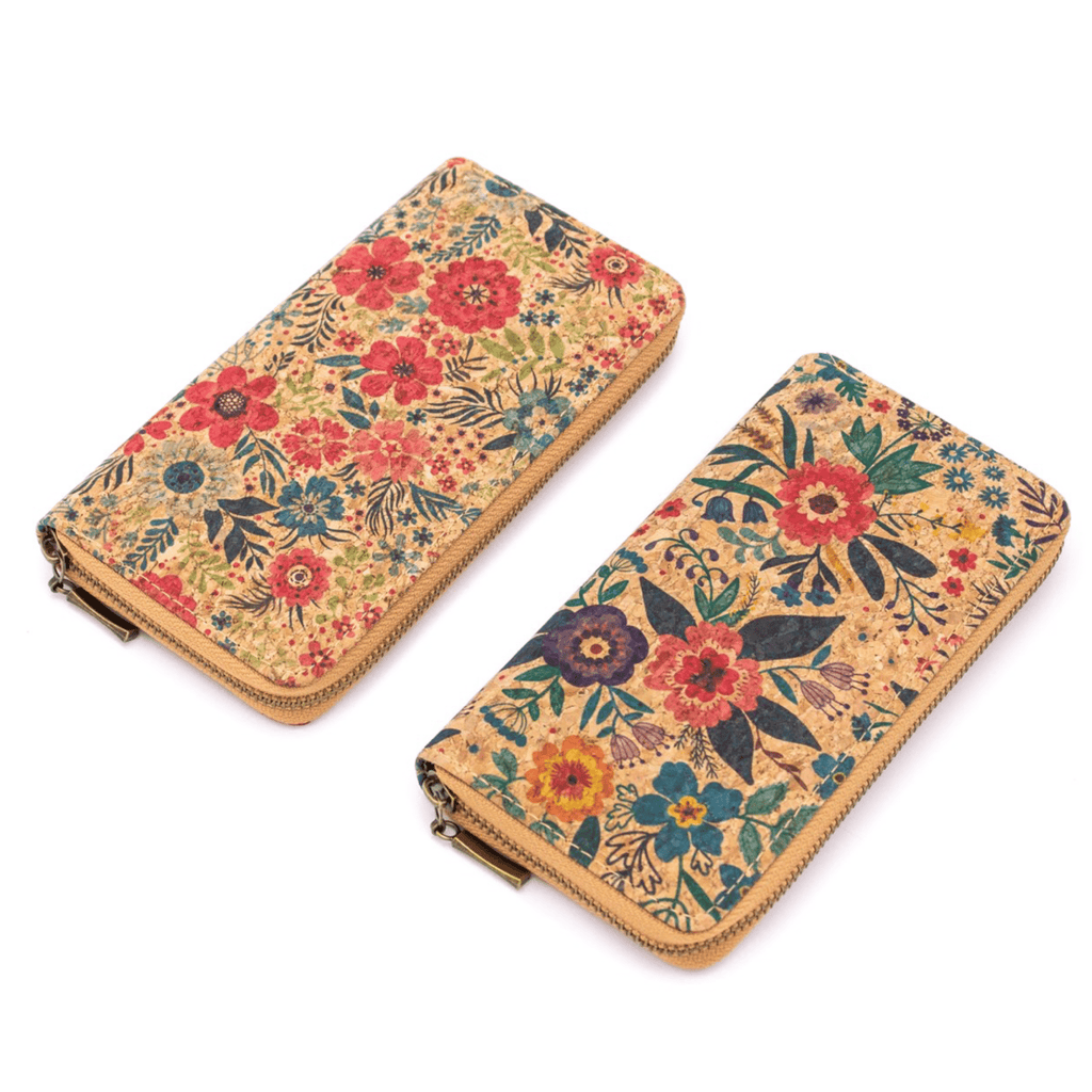 Bright Pink Floral Cork Women's Zipper Wallet