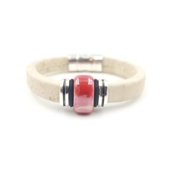 White Cork Red Porcelain Bracelet