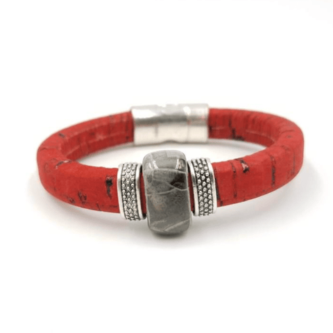 Red Cork Grey Porcelain Bracelet