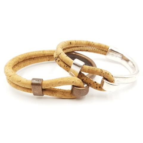 Tan Cork Copper Hook Bracelet