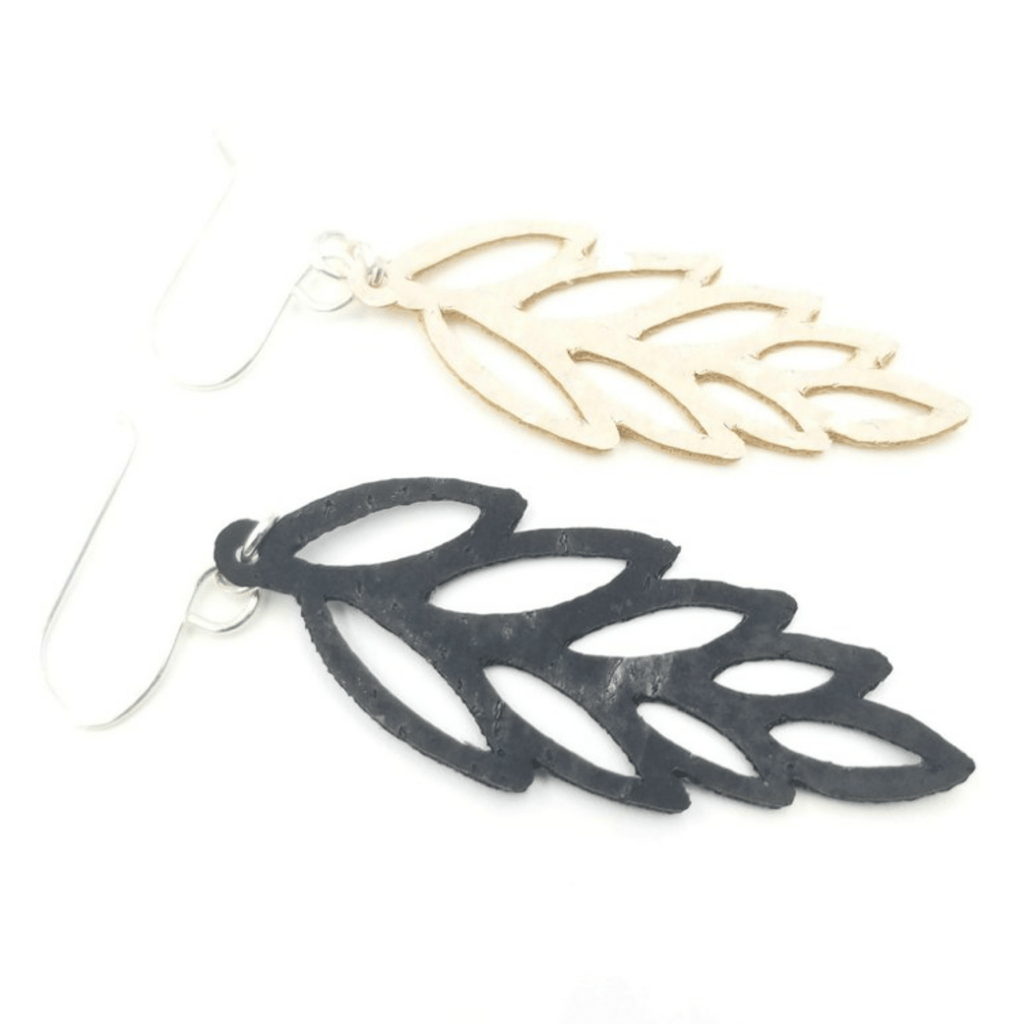 Open Leaf Cork  Earrings