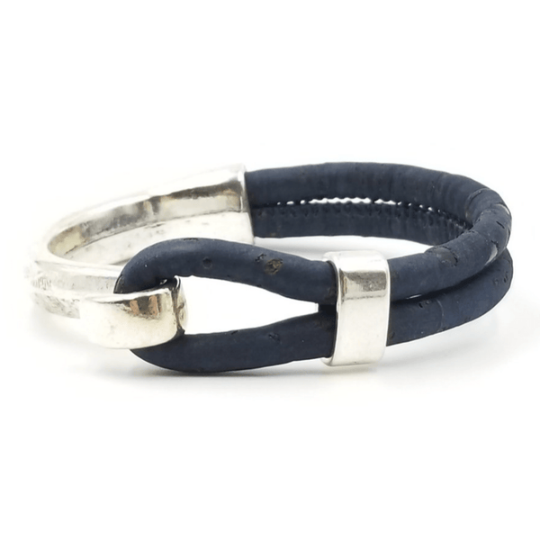 Navy Cork Side Hook Bracelet