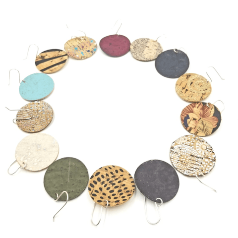 Circle Cork Earrings-Design Your Own