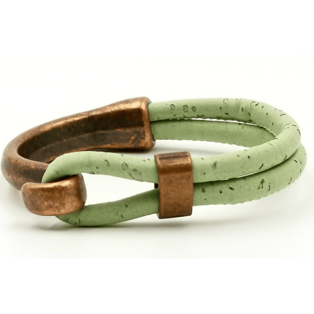 Seafoam Cork Copper Side Hook  Bracelet