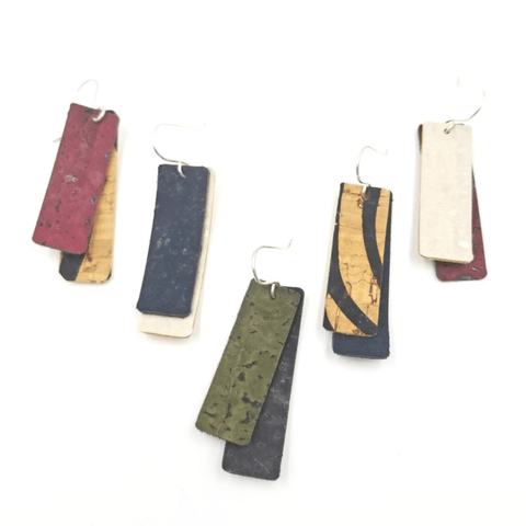 Double Bar Cork Earrings-Design Your Own