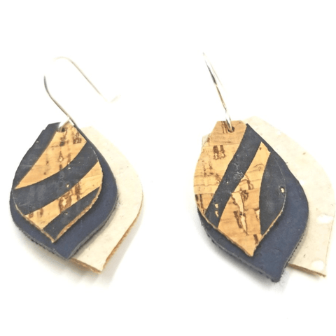 Layered Petal Cork  Earrings