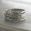 Floral Silver Stacking Ring Set