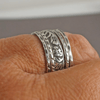 Thick Floral Silver Ring