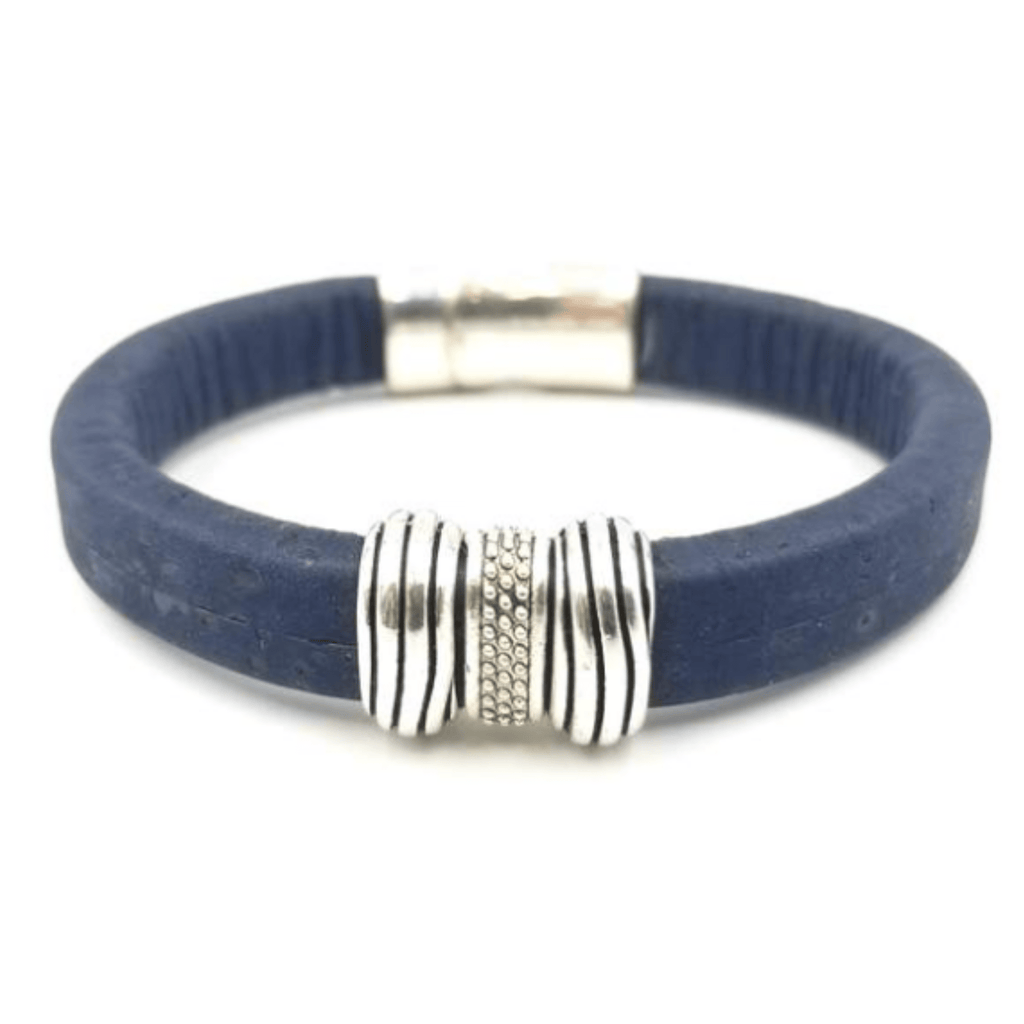 Navy Striped Cork Bracelet