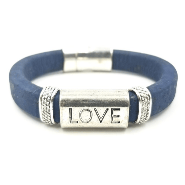 Navy Cork Love Bead Bracelet