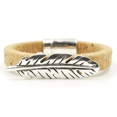 Tan Cork Feather Bracelet