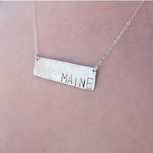 Maine Stamped Bar Necklace