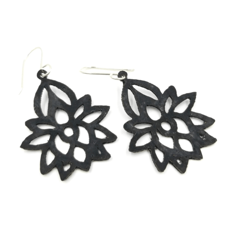 Cork Filagree Lotus Earrings-Design Your Own