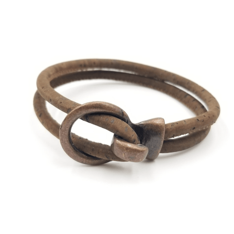 Brown Cork Copper Open Hook Bracelet