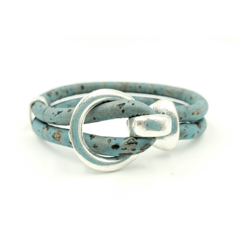 Blue Cork Silver Open Hook Bracelet