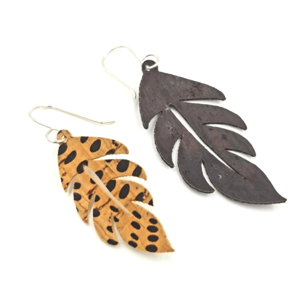 Cork Palm Leaf Earrings-Design Your Own