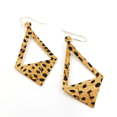 Open Triangle Drop Cork  Earrings