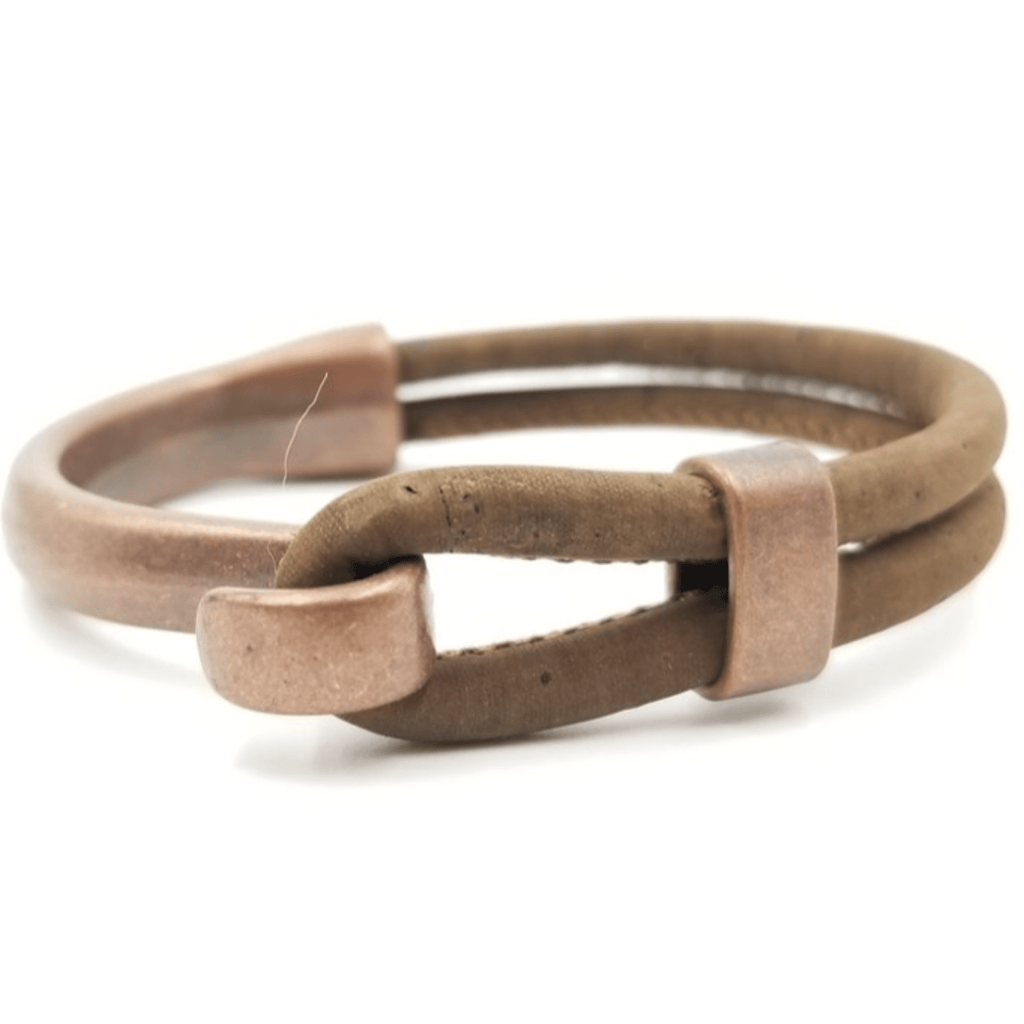 Brown Cork Copper Side Hook Bracelet