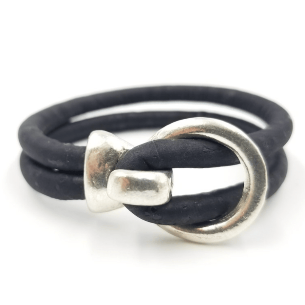 Black Cork Silver Open Hook Bracelet