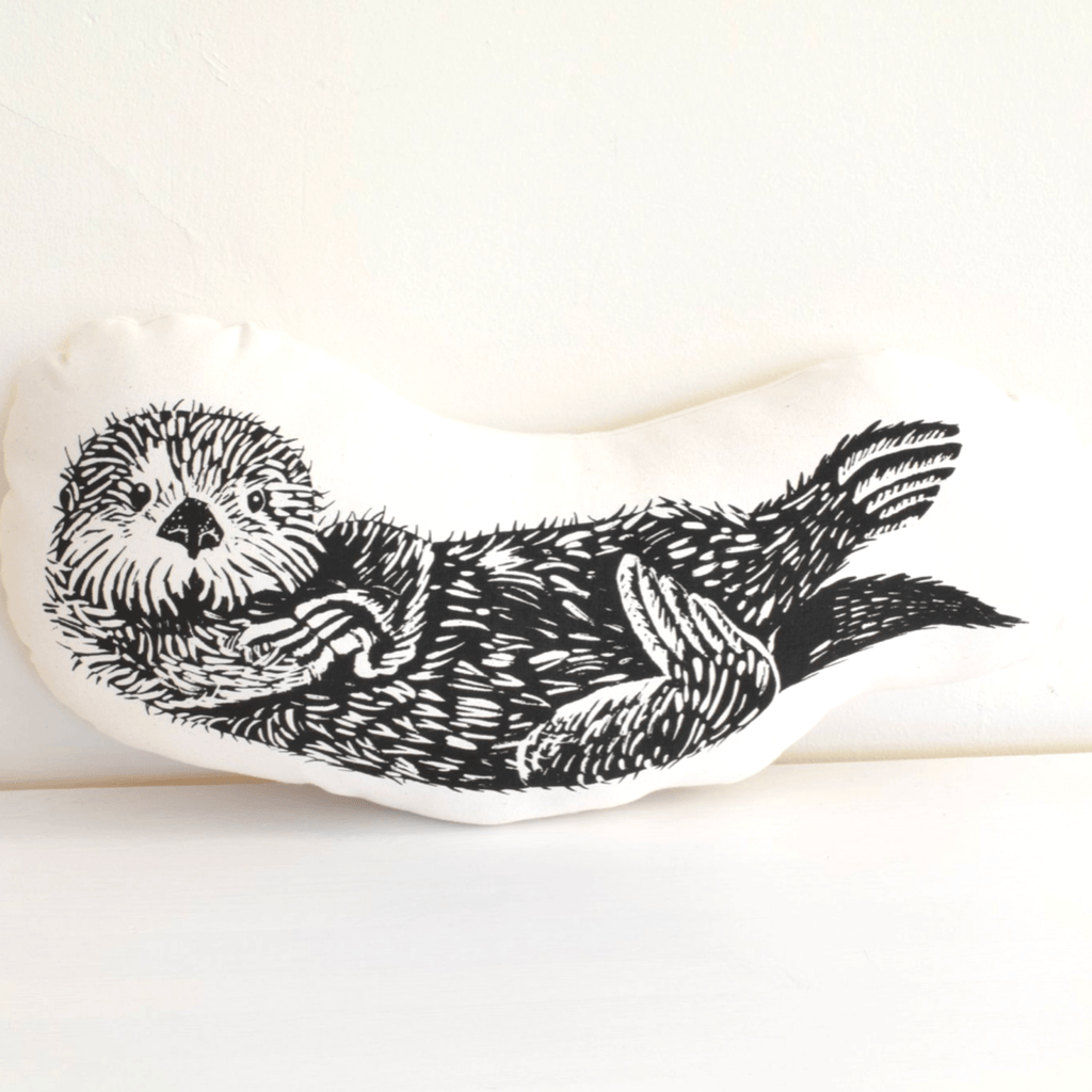 Sea Otter Throw Pillow- Black