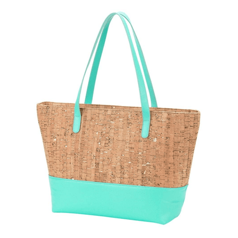 Mint & Natural Cork Tote