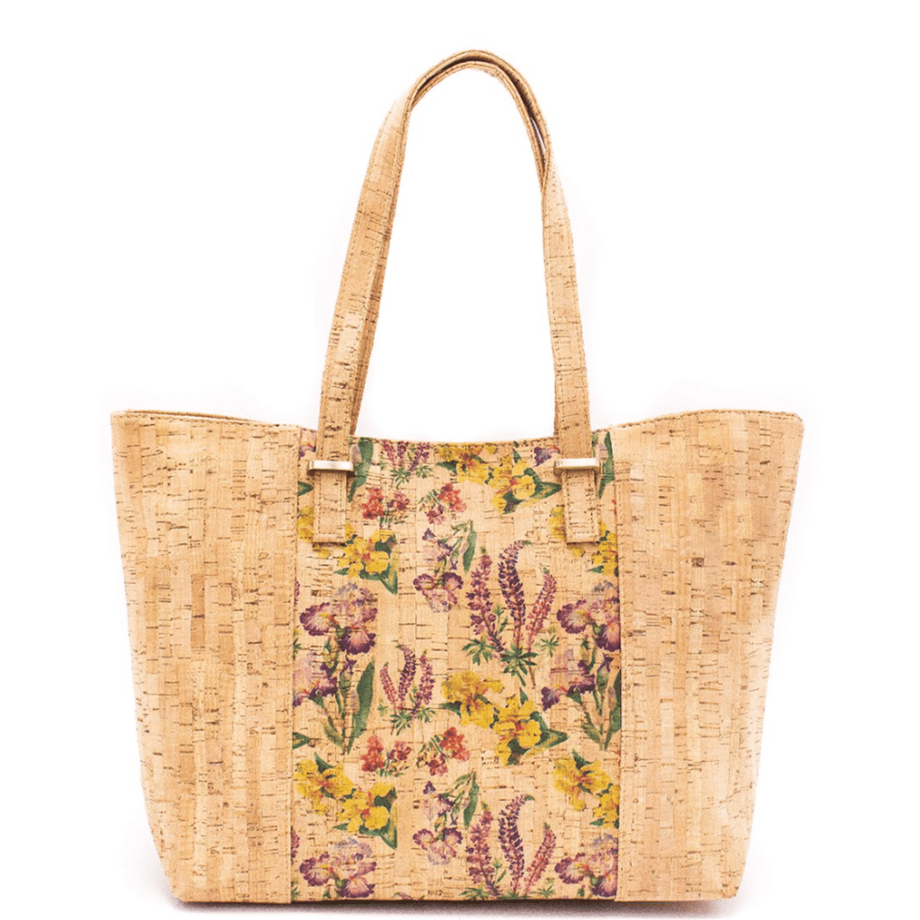 Purple  Floral Cork Large Tote
