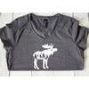 Moose Wilderness Cutout Fitted Women's Tee, Grey