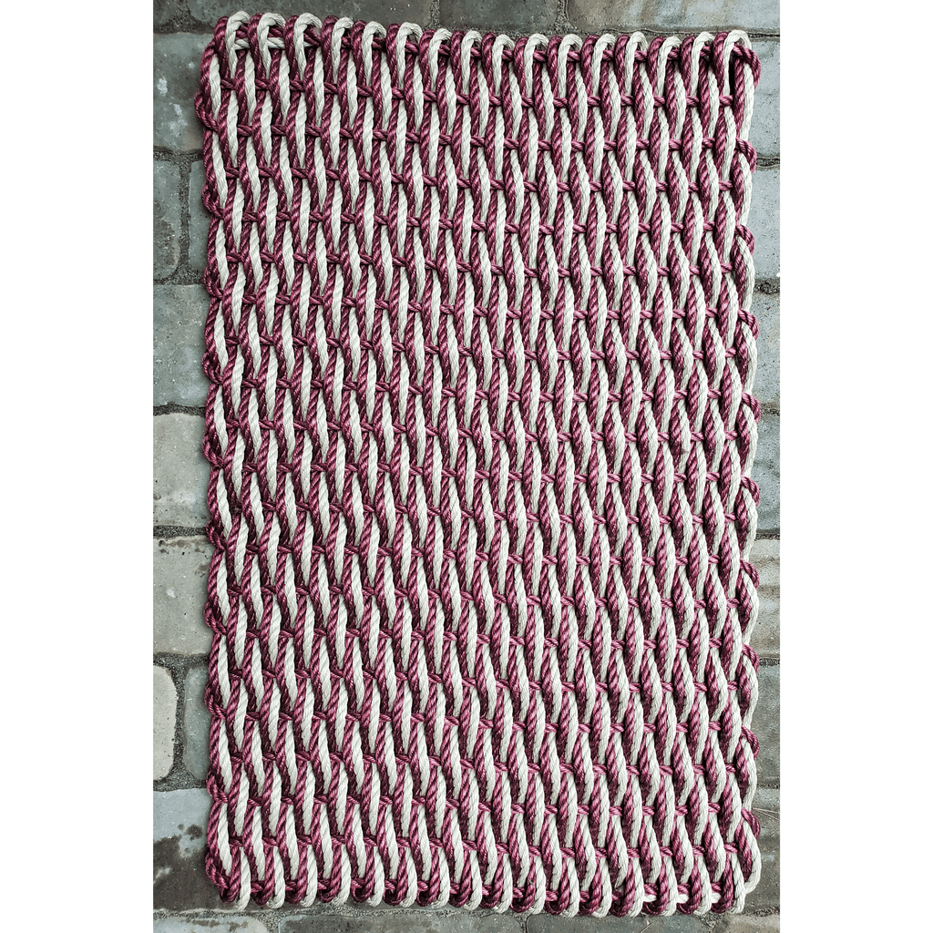 Rope Door Mat, Cranberry & Tan Woven, XL
