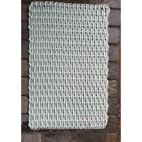 Rope Door Mat, Seafoam & Tan Woven, Large