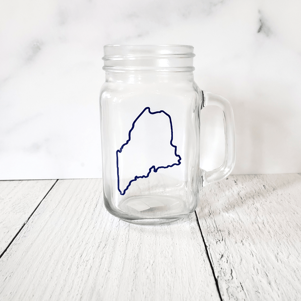 Mason Jar, With Handle, Maine Outline
