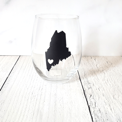 Wine Glass Tumbler, Maine Heart, Black