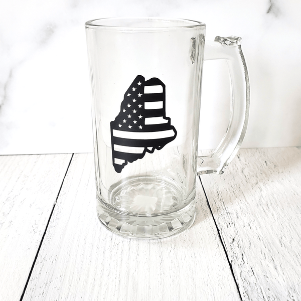 Beer Stein Glass, Maine Flag