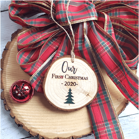 Personalized First Christmas Wood Slice Ornament