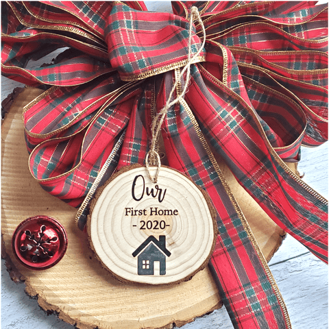 Personalized First Home Wood Slice Ornament