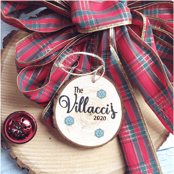 Personalized Family Name Wood Slice Ornament
