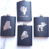Deer Laser Engraved Black Flask