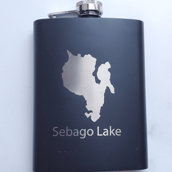 Sebago Lake Laser Engraved Black Flask